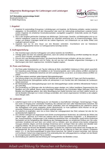 Allgemeine Bedingungen für Lieferungen und ... - KJF werkstätten