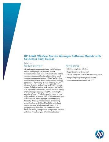 HP A-IMC Wireless Service Manager Software Module ... - MicroSafe