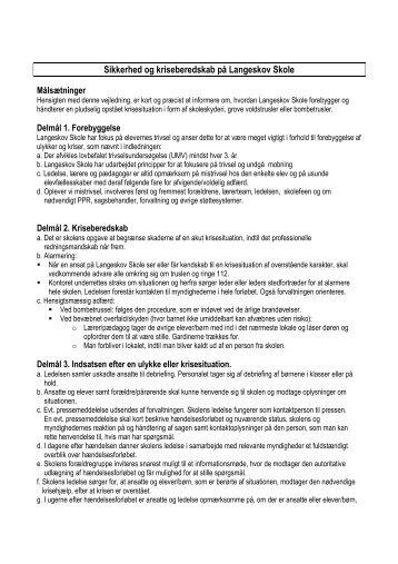 Sikkerhed og kriseberedskab på Langeskov Skole - Skoleporten ...