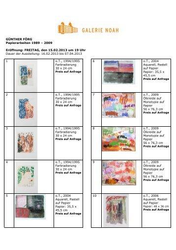 Ausstellungsliste - Galerie Noah