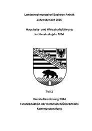 Jahresbericht 2005, Teil 2 - Landesrechnungshof Sachsen-Anhalt