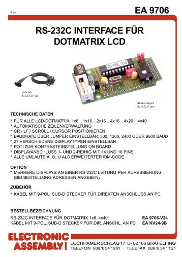EA 9706 RS-232C INTERFACE FÜR DOTMATRIX ... - LCD elementy