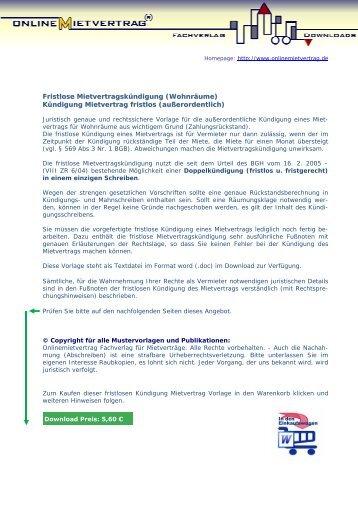 kndigung mietvertrag fristlos onlinemietvertrag - Kundigung Pachtvertrag Muster