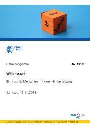 Detailprogramm Willensstark Ein Kurs für Menschen ... - Fragile Suisse