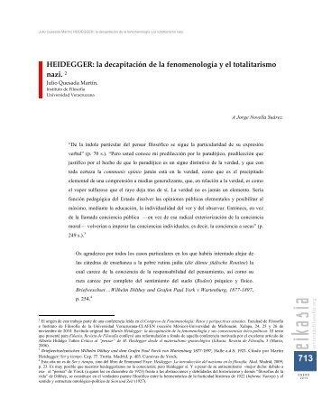 HEIDEGGER: la decapitación de la fenomenología y el ... - Eikasia