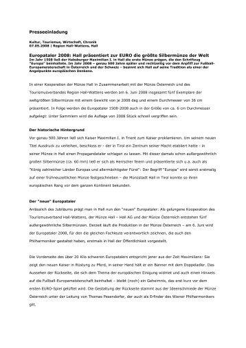 Presseeinladung Europataler 2008: Hall präsentiert zur ... - Hall AG