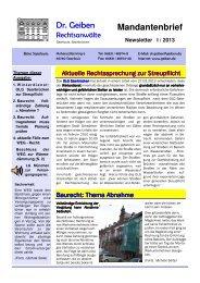Dr. Geiben RAe Newsletter I-2013 - Dr. Geiben Rechtsanwälte
