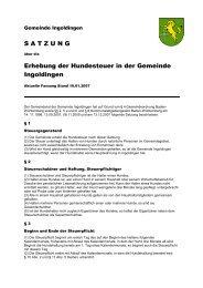 SATZUNG Erhebung der Hundesteuer in der Gemeinde Ingoldingen