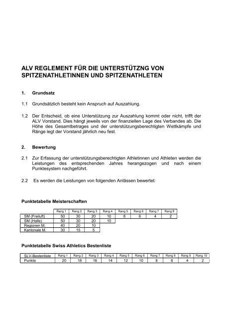 alv reglement für die unterstützng von spitzenathletinnen und ...