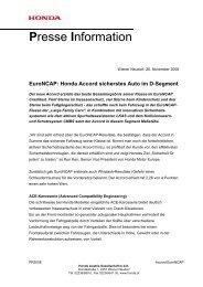 Euroncap: Honda Accord sicherstes Auto im D-Segment - Auto Stahl