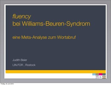 fluency bei Williams-Beuren-Syndrom