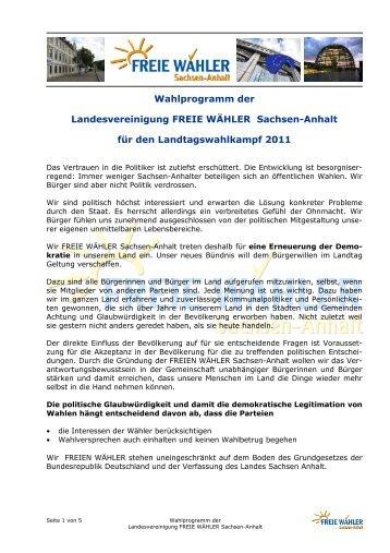 Wahlprogramm FREIE WÄHLER - Fw-mansfeld-suedharz.de