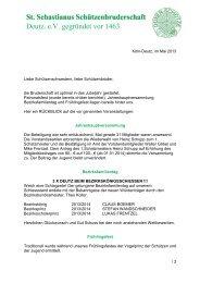 St. Sebastianus Schützenbruderschaft Deutz. e.V. gegründet vor 1463