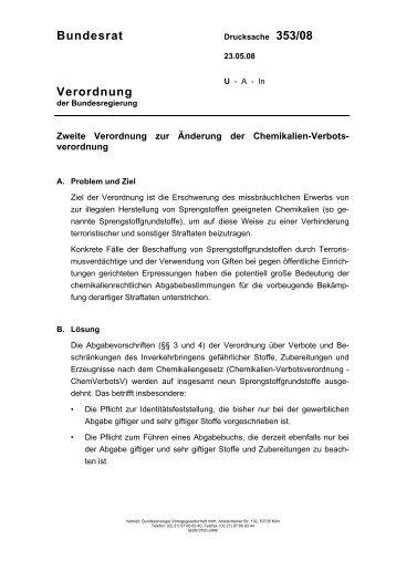 Zweiten Verordnung zur Änderung der Chemikalien ... - Umwelt-online