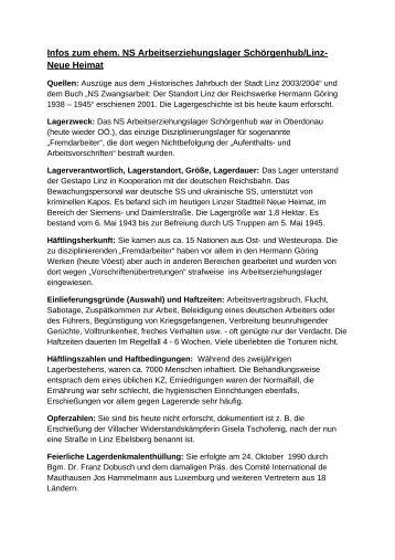 Infos zum ehem. NS Arbeitserziehungslager Schörgenhub/Linz ...