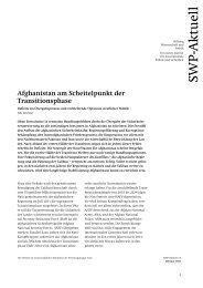 Afghanistan am Scheitelpunkt - Stiftung Wissenschaft und Politik