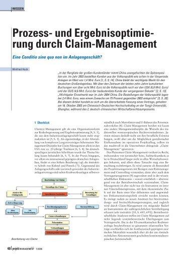 und Ergebnisoptimierung durch Claim-Management. Prof. Dr. iur ...