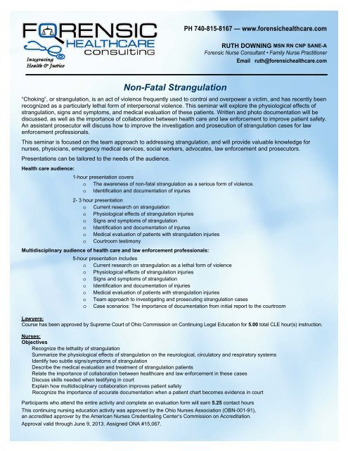 Our Non Fatal Strangulation Training Info Forensic Health