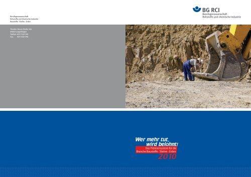 Das Prämiensystem für die Branche Baustoffe - Steine - Erden