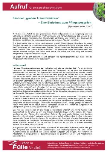 """Pfingstbrief: Fest der """"großen Transformation"""" - Leben in Fülle für alle!"""
