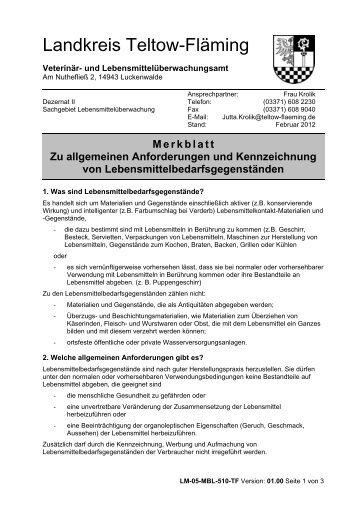 Merkblatt zu allgemeinen Anforderungen und zur Kennzeichnung ...