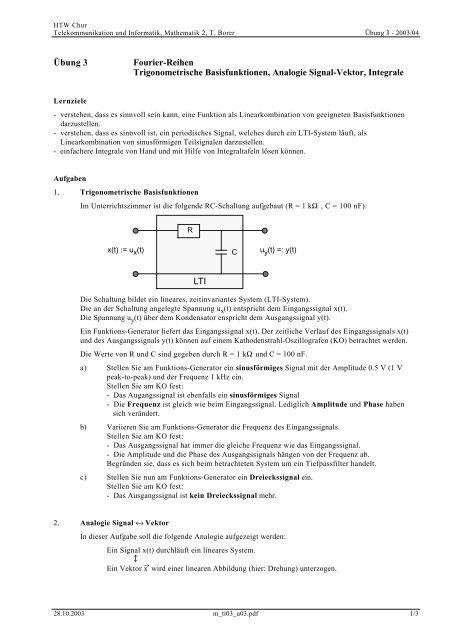 Übung 3 Fourier-Reihen Trigonometrische ... - Thomas Borer