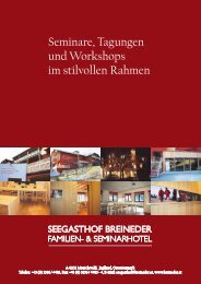 Seminare, Tagungen und Workshops im stilvollen ... - Breineder