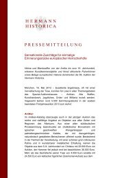 Pressemitteilung Ergebnisse Frühjahrsauktion - Hermann Historica