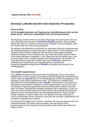 Schweizer Luftwaffe eskortiert einen deutschen Privatpiloten