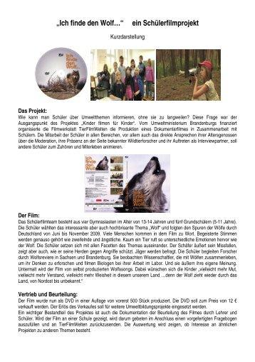 """""""Ich finde den Wolf…"""" ein Schülerfilmprojekt - MUGV"""