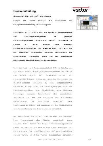 Steuergeräte optimal abstimmen - Vector