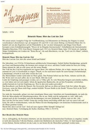 XXIX / 1974 Heinrich Mann: Hört das Lied der Zeit