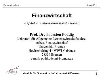 Finanzwirtschaft - Universität Bremen