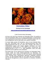 Kolloidales Silber - Ein Gebet heilt alle Krankheiten