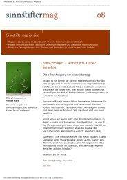 sinnstiftermag.de   Kirche und Kommunikation   Ausgabe 08