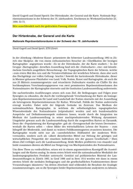 Der Hirtenknabe, der General und die Karte Nationale ...