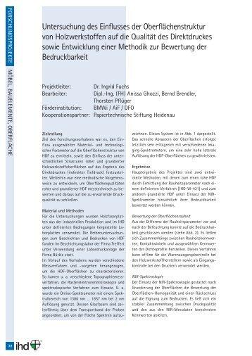 Untersuchung des Einflusses der Oberflächenstruktur von ... - IhD