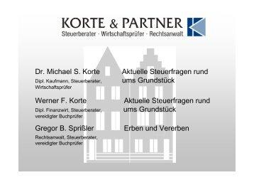 Dr. Michael S. Korte Aktuelle Steuerfragen rund ... - Korte & Partner