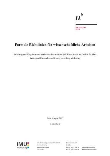 Formale Richtlinien V.2.1 - IMU - Marketing - Universität Bern