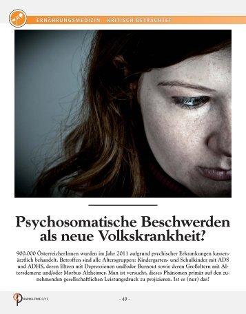 Psychosomatische Beschwerden als neue Volkskrankheit - Cogito ...