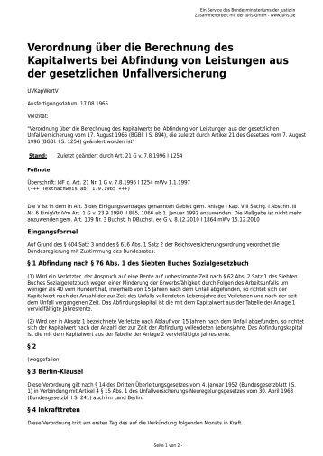 Verordnung über Die Berechnung Des Kapitalwerts Bei Abfindung .