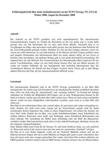 Erfahrungsbericht über mein Auslandssemester an der SUNY ...