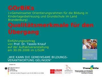Prof. Dr. Tassilo Knauf: GOrBiKs - Bildungsserver Berlin - Brandenburg