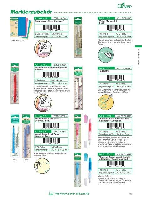 Clover Markierstift für Stoff wasserlöslich Vorzeichenstift