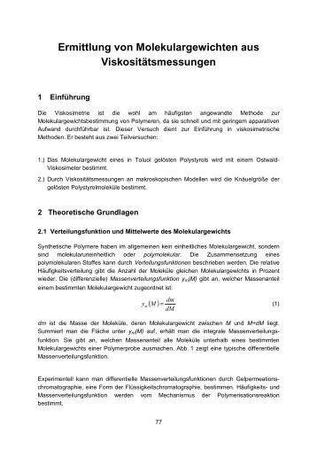 Ermittlung von Molekulargewichten aus Viskositätsmessungen