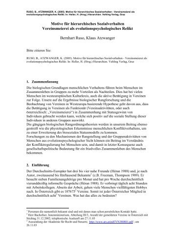 Vereinsmeierei als evolutionspsychologisches Relikt