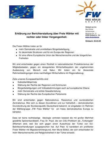 FW-ErklärungEUWahl3 1 - Freie Wähler Bayern