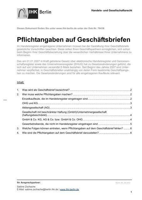 Merkblatt Pflichtangaben Auf Geschäftsbriefen Ihk Berlin