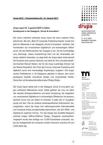 drupa 2012 – Pressemeldung Nr. 14 / August ... - Messe Düsseldorf