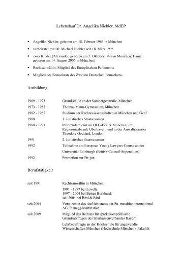 lebenslauf deutsch angelika niebler - Schriftgre Lebenslauf